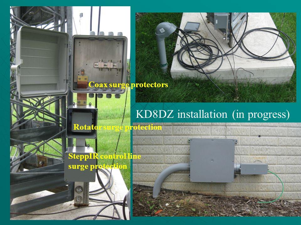 KD8DZ installation (in progress) Rotator surge protection SteppIR control line surge protection Coax surge protectors