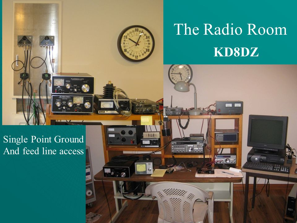 The Radio Room KD8DZ Single Point Ground And feed line access