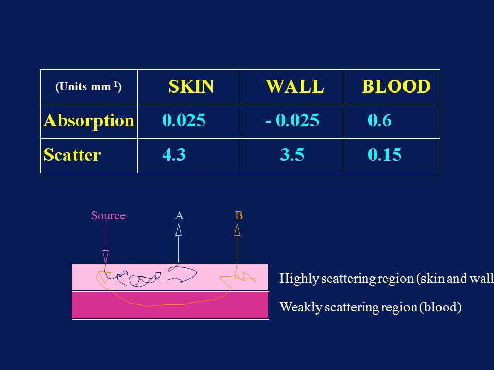 Weakly scattering region (blood) Highly scattering region (skin and wall) SourceAB (Units mm -1 )