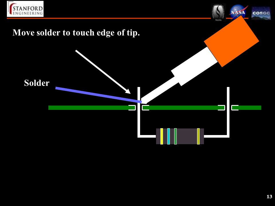 13 Move solder to touch edge of tip. Solder