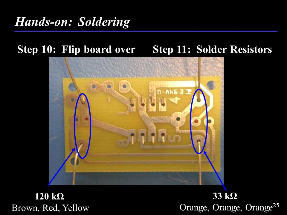Step 10: Flip board over Step 11: Solder Resistors Hands-on: Soldering 120 kΩ Brown, Red, Yellow 33 kΩ Orange, Orange, Orange 25