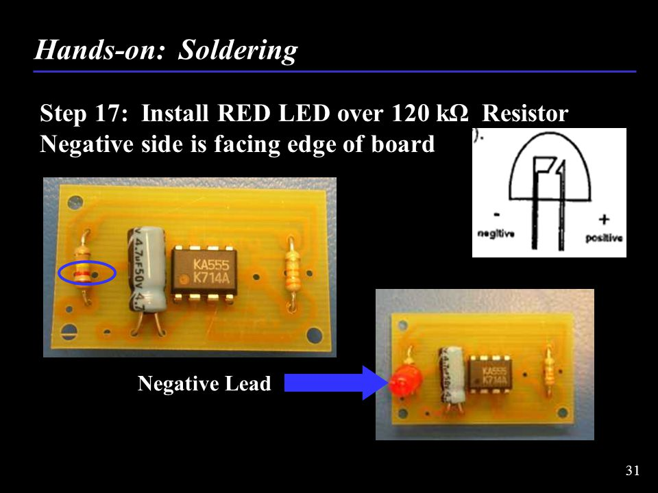 Step 17: Install RED LED over 120 kΩ Resistor Negative side is facing edge of board Hands-on: Soldering 31 Negative Lead