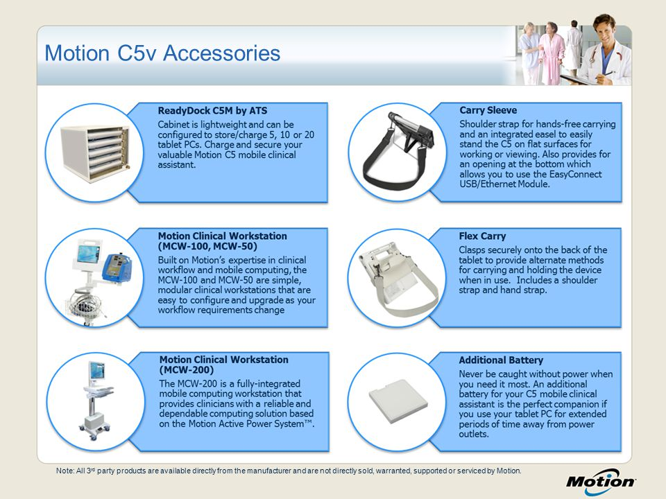 Motion C5v Accessories Note: All 3 rd party products are available directly from the manufacturer and are not directly sold, warranted, supported or serviced by Motion.