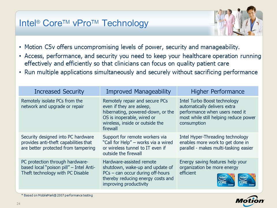 Intel ® Core TM vPro TM Technology Motion C5v offers uncompromising levels of power, security and manageability.