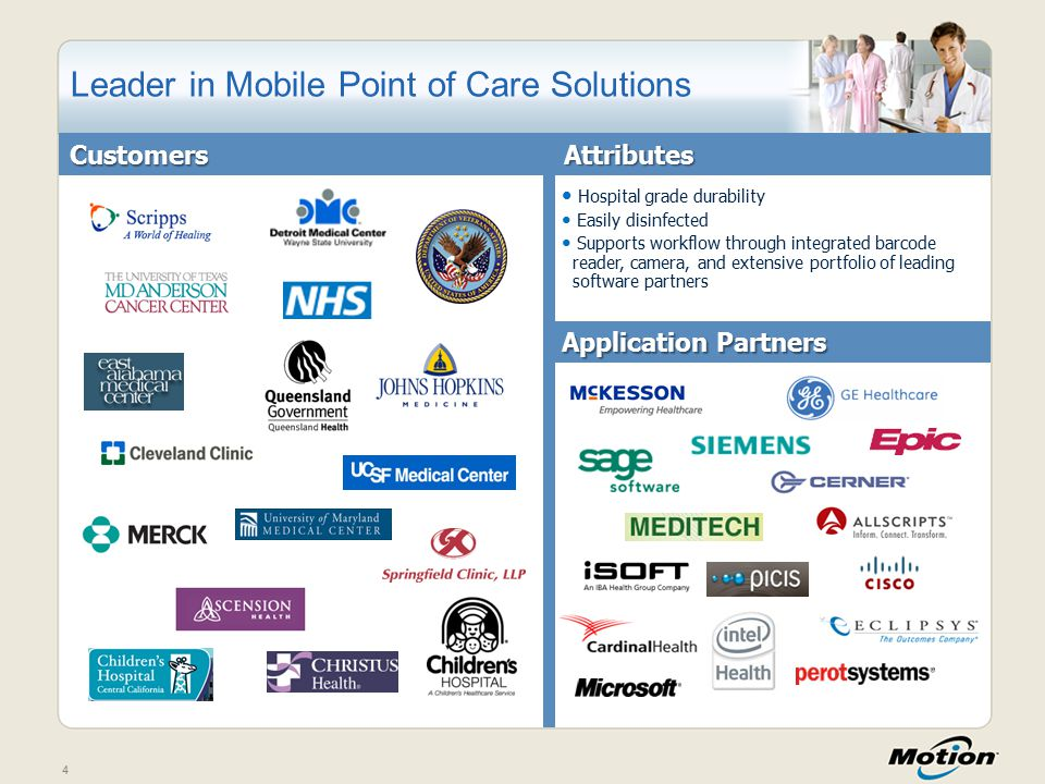 4 Leader in Mobile Point of Care Solutions Hospital grade durability Easily disinfected Supports workflow through integrated barcode reader, camera, and extensive portfolio of leading software partnersCustomersAttributes Application Partners