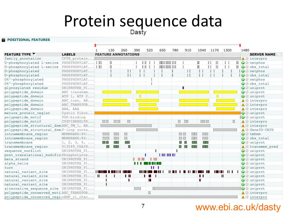 7 Protein sequence data Dasty www.ebi.ac.uk/dasty