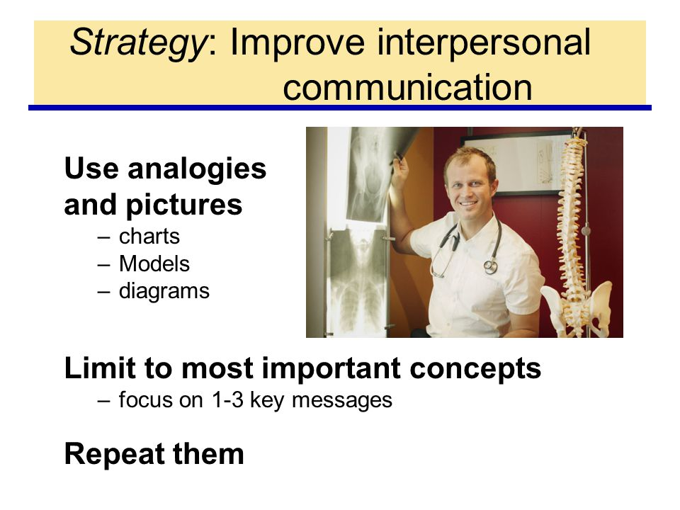 Strategy: Improve interpersonal communication Use analogies and pictures –charts –Models –diagrams Limit to most important concepts –focus on 1-3 key messages Repeat them