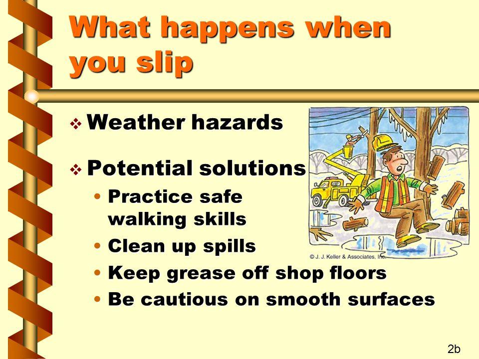 What happens when you slip v Weather hazards v Potential solutions Practice safe walking skillsPractice safe walking skills Clean up spillsClean up sp