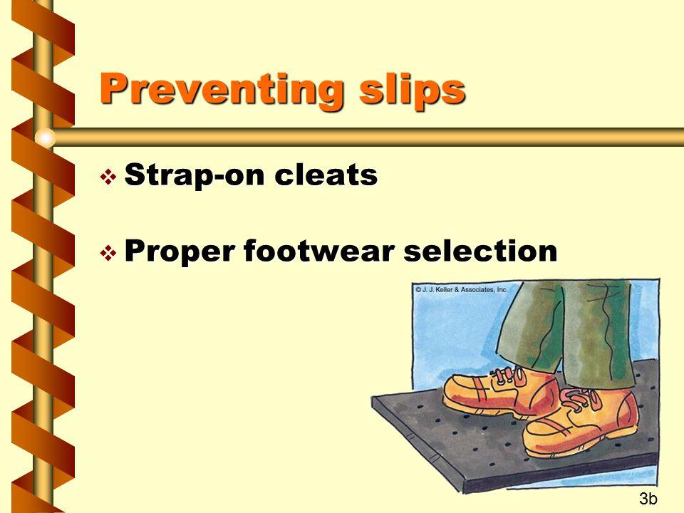 Preventing slips v Strap-on cleats v Proper footwear selection 3b
