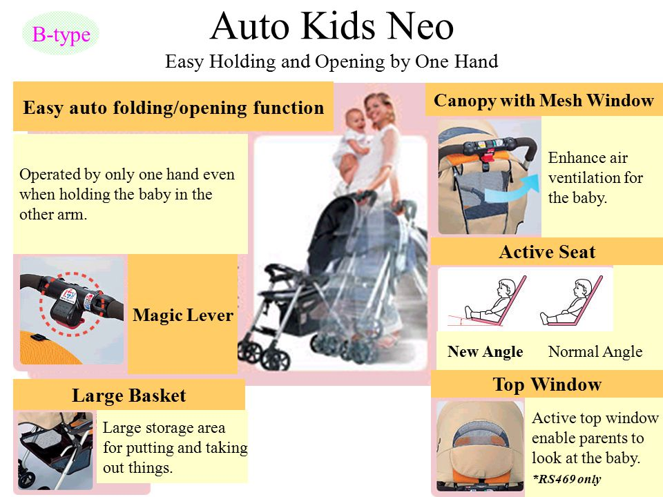 Auto Kids Neo Easy Holding and Opening by One Hand B-type Easy auto folding/opening function Operated by only one hand even when holding the baby in t