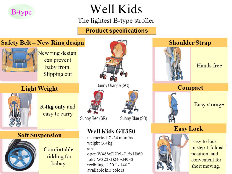 Well Kids The lightest B-type stroller B-type Well Kids GT350 use period :7~24 months weight :3.4kg size : open W488xD705~715xH960 fold W322xD240xH930
