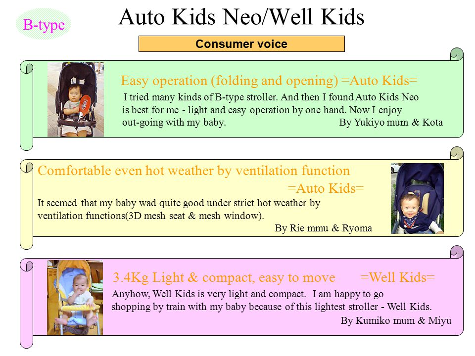 Auto Kids Neo/Well Kids Consumer voice B-type Easy operation (folding and opening) =Auto Kids= I tried many kinds of B-type stroller. And then I found
