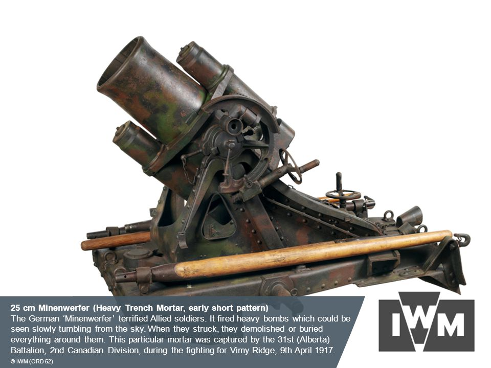 25 cm Minenwerfer (Heavy Trench Mortar, early short pattern) The German 'Minenwerfer' terrified Allied soldiers. It fired heavy bombs which could be s