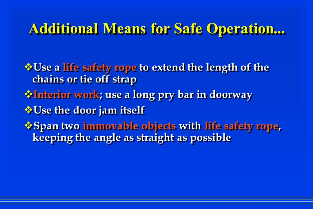 Additional Means for Safe Operation...