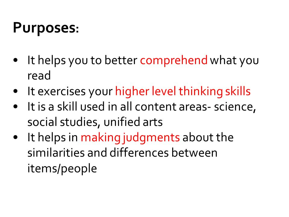 Purposes : It helps you to better comprehend what you read It exercises your higher level thinking skills It is a skill used in all content areas- sci