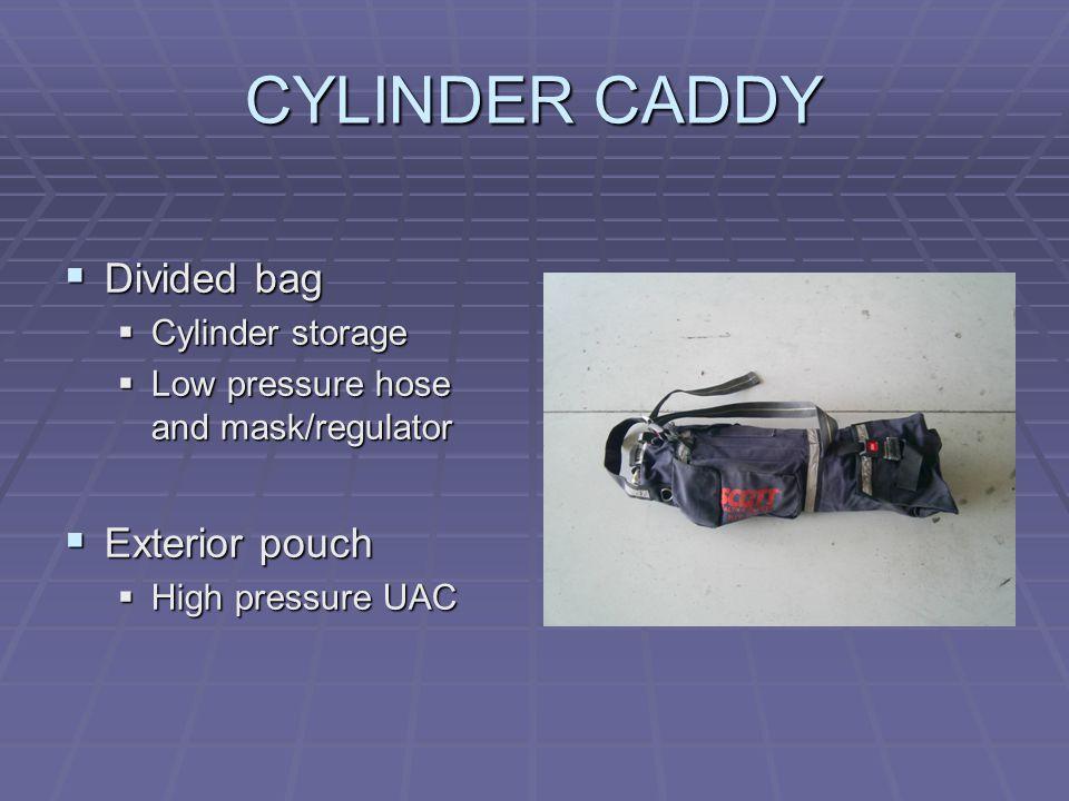 CYLINDER CADDY  Divided bag  Cylinder storage  Low pressure hose and mask/regulator  Exterior pouch  High pressure UAC