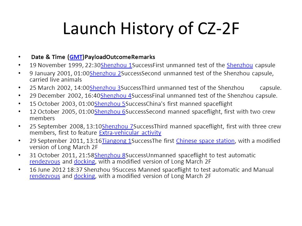 Launch History of CZ-2F Date & Time (GMT)PayloadOutcomeRemarksGMT 19 November 1999, 22:30Shenzhou 1SuccessFirst unmanned test of the Shenzhou capsuleShenzhou 1Shenzhou 9 January 2001, 01:00Shenzhou 2SuccessSecond unmanned test of the Shenzhou capsule, carried live animalsShenzhou 2 25 March 2002, 14:00Shenzhou 3SuccessThird unmanned test of the Shenzhou capsule.Shenzhou 3 29 December 2002, 16:40Shenzhou 4SuccessFinal unmanned test of the Shenzhou capsule.Shenzhou 4 15 October 2003, 01:00Shenzhou 5SuccessChina s first manned spaceflightShenzhou 5 12 October 2005, 01:00Shenzhou 6SuccessSecond manned spaceflight, first with two crew membersShenzhou 6 25 September 2008, 13:10Shenzhou 7SuccessThird manned spaceflight, first with three crew members, first to feature Extra-vehicular activityShenzhou 7Extra-vehicular activity 29 September 2011, 13:16Tiangong 1SuccessThe first Chinese space station, with a modified version of Long March 2FTiangong 1Chinese space station 31 October 2011, 21:58Shenzhou 8SuccessUnmanned spaceflight to test automatic rendezvous and docking, with a modified version of Long March 2FShenzhou 8 rendezvousdocking 16 June 2012 18:37 Shenzhou 9Success Manned spaceflight to test automatic and Manual rendezvous and docking, with a modified version of Long March 2F rendezvousdocking
