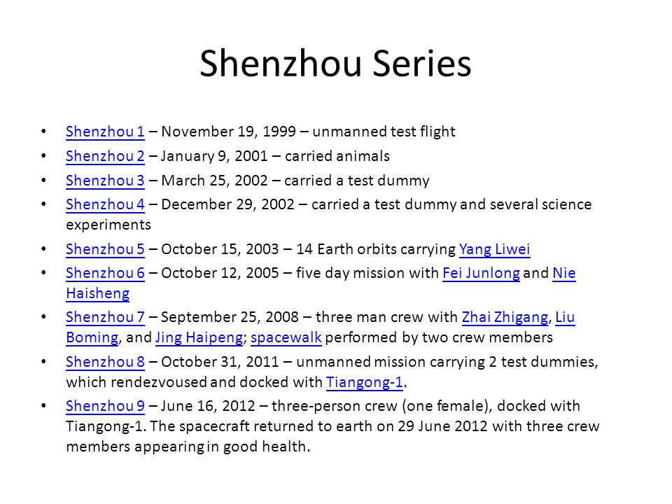 Shenzhou Series Shenzhou 1 – November 19, 1999 – unmanned test flight Shenzhou 1 Shenzhou 2 – January 9, 2001 – carried animals Shenzhou 2 Shenzhou 3 – March 25, 2002 – carried a test dummy Shenzhou 3 Shenzhou 4 – December 29, 2002 – carried a test dummy and several science experiments Shenzhou 4 Shenzhou 5 – October 15, 2003 – 14 Earth orbits carrying Yang Liwei Shenzhou 5Yang Liwei Shenzhou 6 – October 12, 2005 – five day mission with Fei Junlong and Nie Haisheng Shenzhou 6Fei JunlongNie Haisheng Shenzhou 7 – September 25, 2008 – three man crew with Zhai Zhigang, Liu Boming, and Jing Haipeng; spacewalk performed by two crew members Shenzhou 7Zhai ZhigangLiu BomingJing Haipengspacewalk Shenzhou 8 – October 31, 2011 – unmanned mission carrying 2 test dummies, which rendezvoused and docked with Tiangong-1.