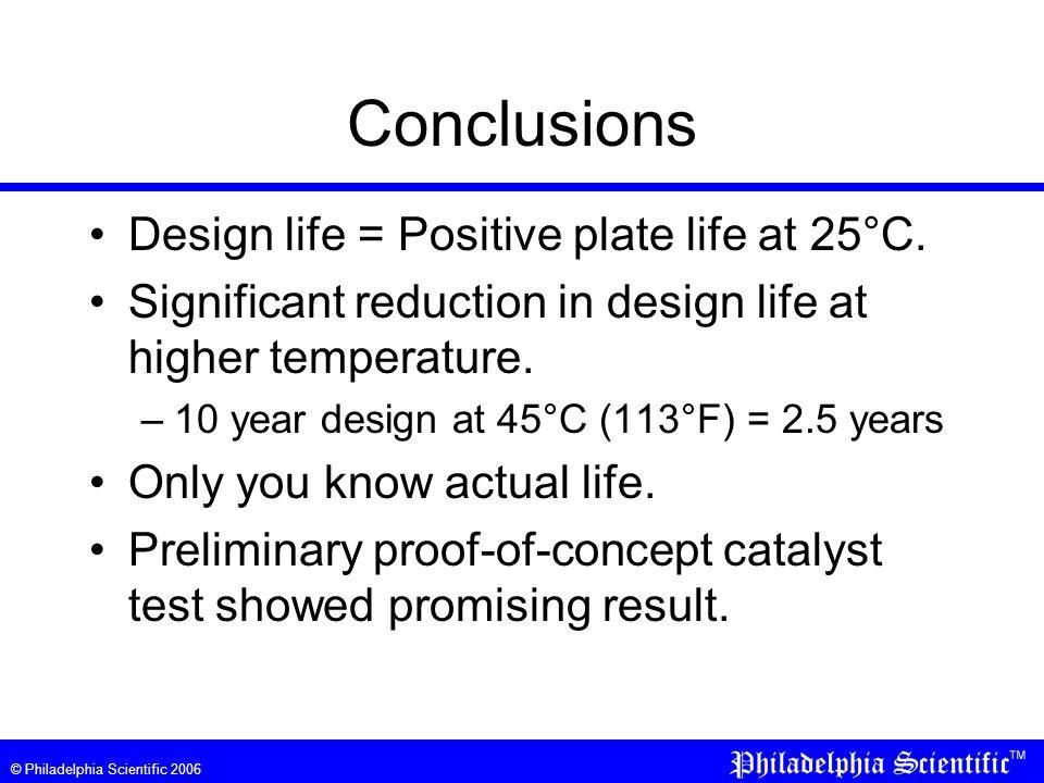 © Philadelphia Scientific 2006 Conclusions Design life = Positive plate life at 25°C.