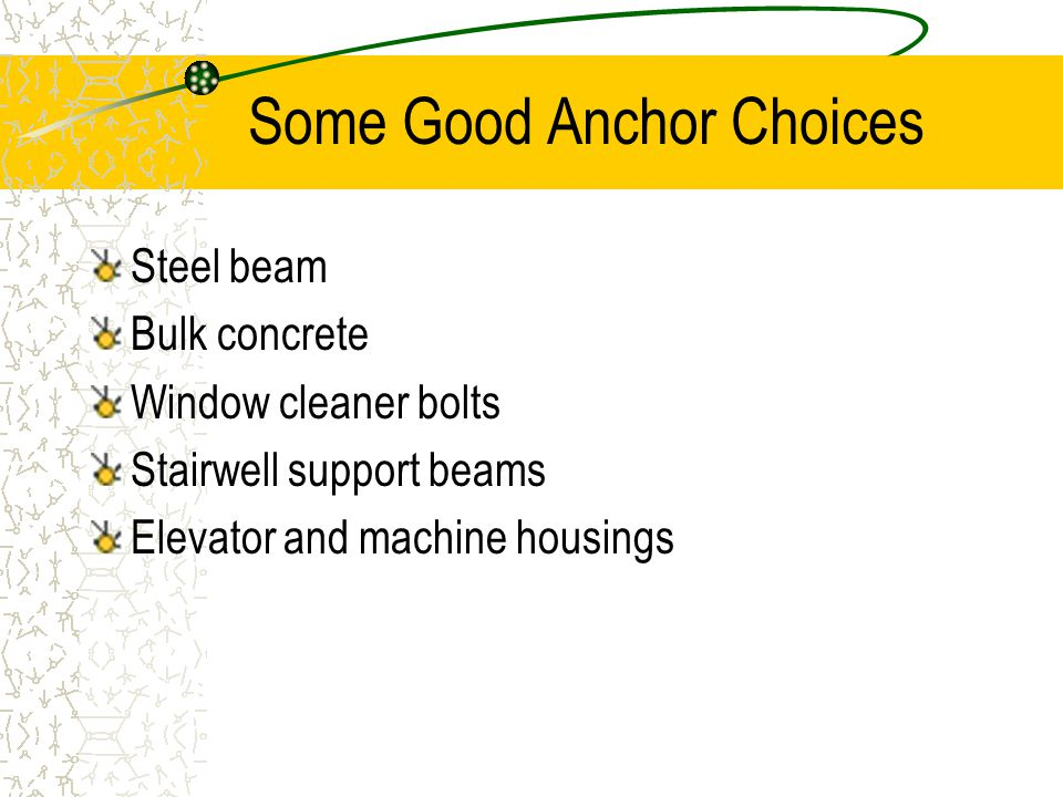 Some Good Anchor Choices Steel beam Bulk concrete Window cleaner bolts Stairwell support beams Elevator and machine housings