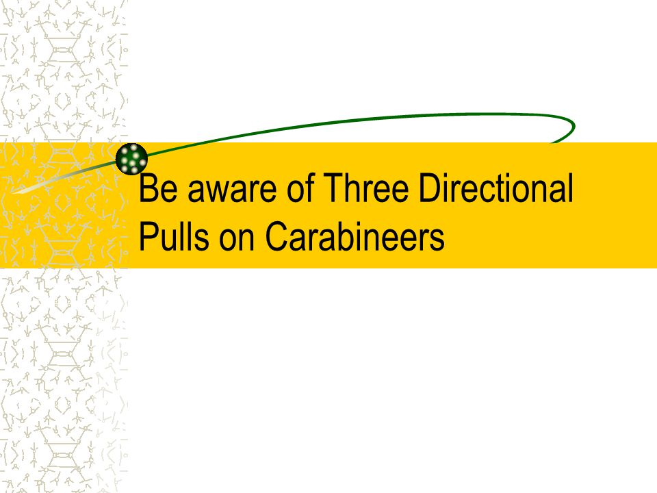 Be aware of Three Directional Pulls on Carabineers