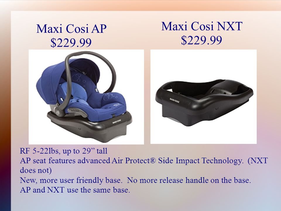 Maxi Cosi AP $229.99 Maxi Cosi NXT $229.99 RF 5-22lbs, up to 29 tall AP seat features advanced Air Protect® Side Impact Technology.