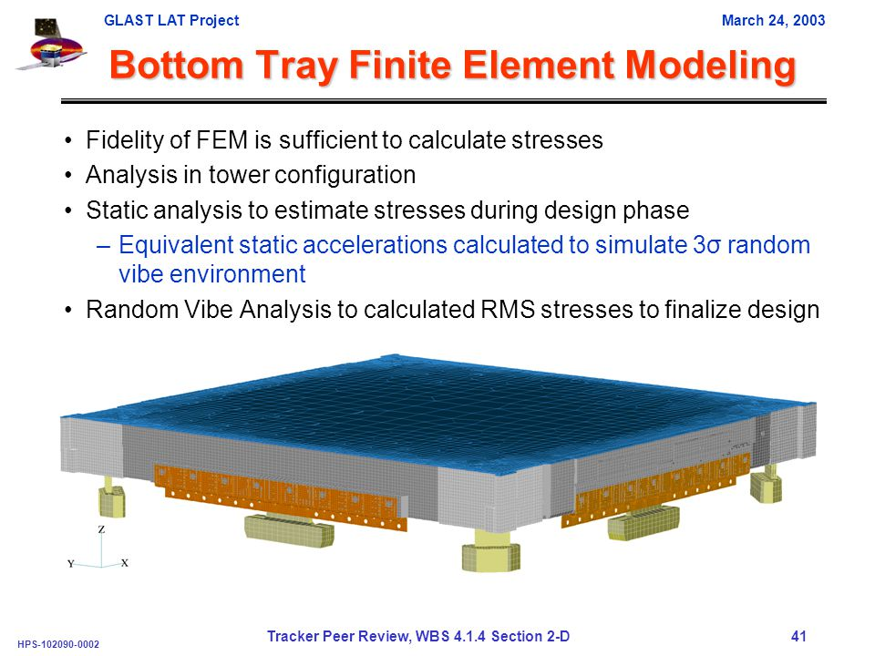 GLAST LAT ProjectMarch 24, 2003 HPS-102090-0002 Tracker Peer Review, WBS 4.1.4 Section 2-D 41 Bottom Tray Finite Element Modeling Fidelity of FEM is sufficient to calculate stresses Analysis in tower configuration Static analysis to estimate stresses during design phase –Equivalent static accelerations calculated to simulate 3σ random vibe environment Random Vibe Analysis to calculated RMS stresses to finalize design