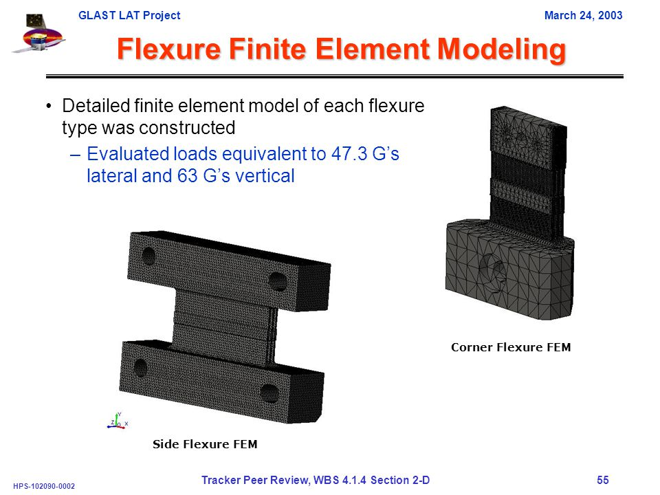 GLAST LAT ProjectMarch 24, 2003 HPS-102090-0002 Tracker Peer Review, WBS 4.1.4 Section 2-D 55 Flexure Finite Element Modeling Detailed finite element model of each flexure type was constructed –Evaluated loads equivalent to 47.3 G's lateral and 63 G's vertical Corner Flexure FEM Side Flexure FEM