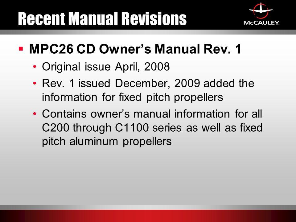 Recent Manual Revisions  MPC26 CD Owner's Manual Rev.