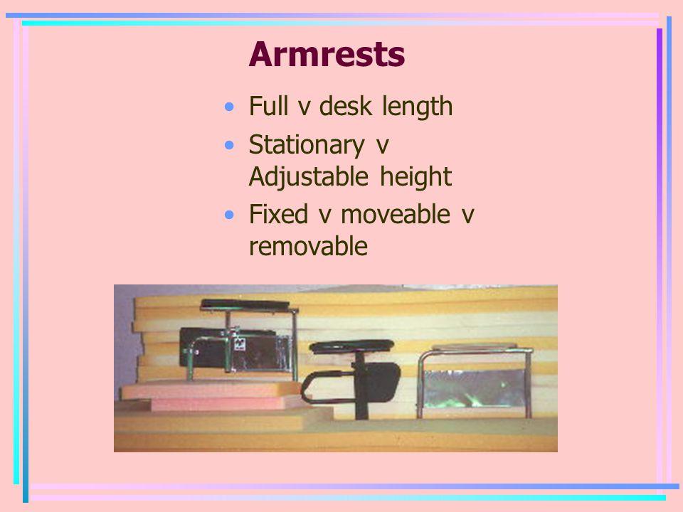 Armrests Full v desk length Stationary v Adjustable height Fixed v moveable v removable