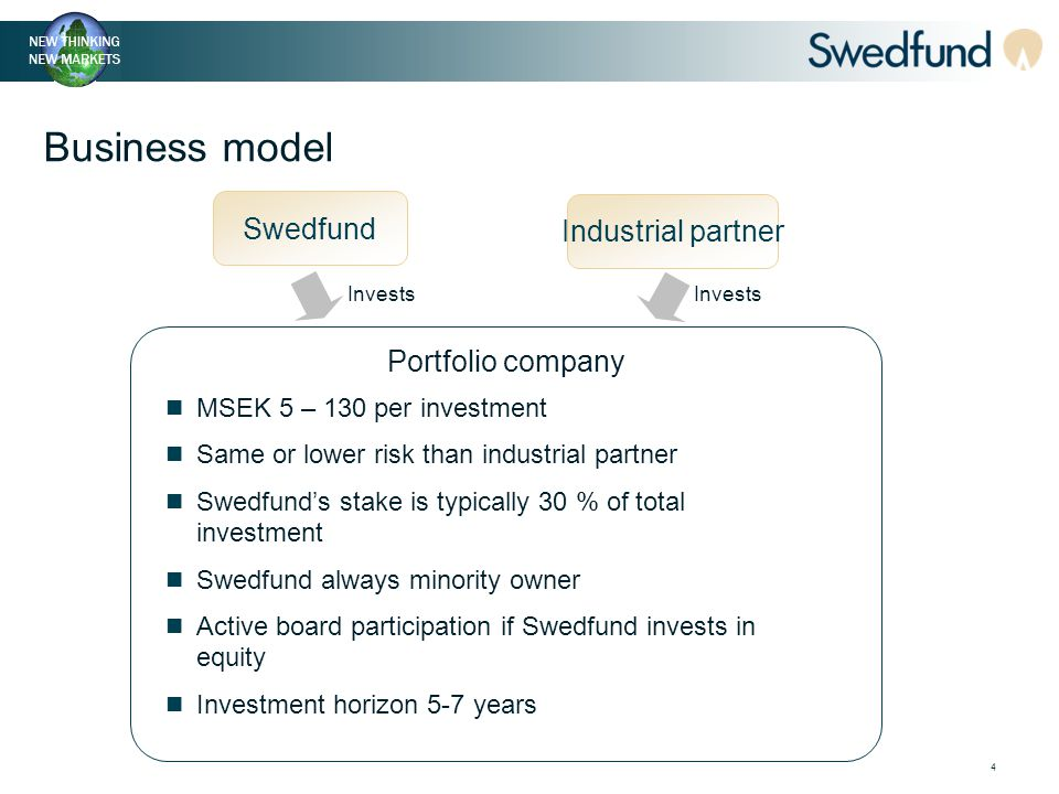 4 Business model Swedfund Industrial partner Portfolio company MSEK 5 – 130 per investment Same or lower risk than industrial partner Swedfund's stake is typically 30 % of total investment Swedfund always minority owner Active board participation if Swedfund invests in equity Investment horizon 5-7 years Invests