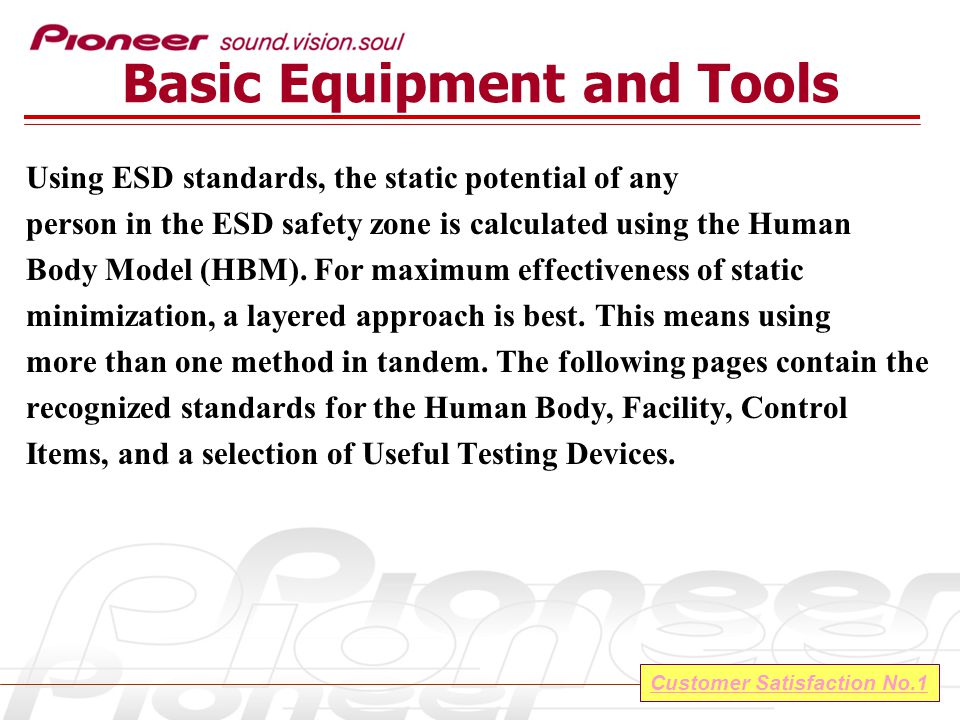 Customer Satisfaction No.1 Basic Equipment and Tools Using ESD standards, the static potential of any person in the ESD safety zone is calculated using the Human Body Model (HBM).