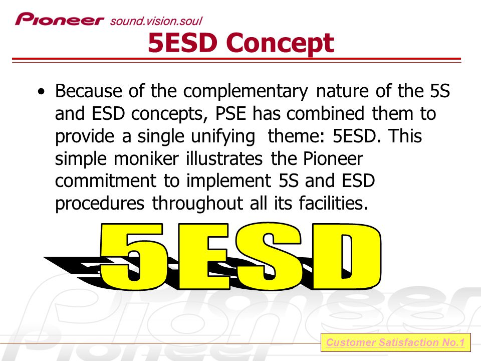 Customer Satisfaction No.1 ESD Control Hierarchy ESD Control personnel must be assigned, identified and posted in an organization chart easily viewable by all personnel.