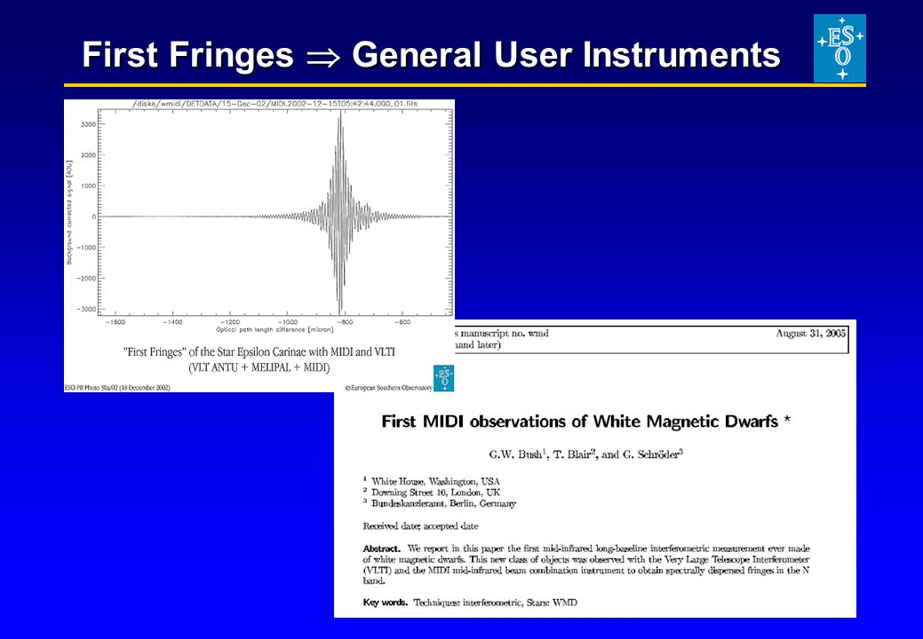 First Fringes  General User Instruments