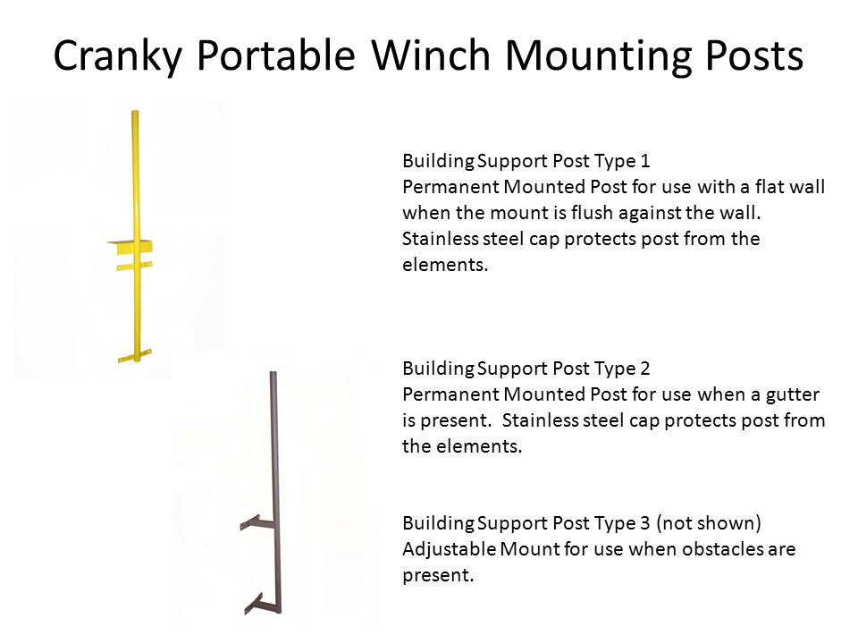 Building Support Post Type 1 Permanent Mounted Post for use with a flat wall when the mount is flush against the wall.