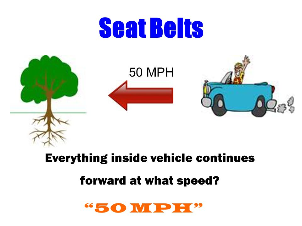 Seat Belts 50 MPH Everything inside vehicle continues forward at what speed? 50 MPH