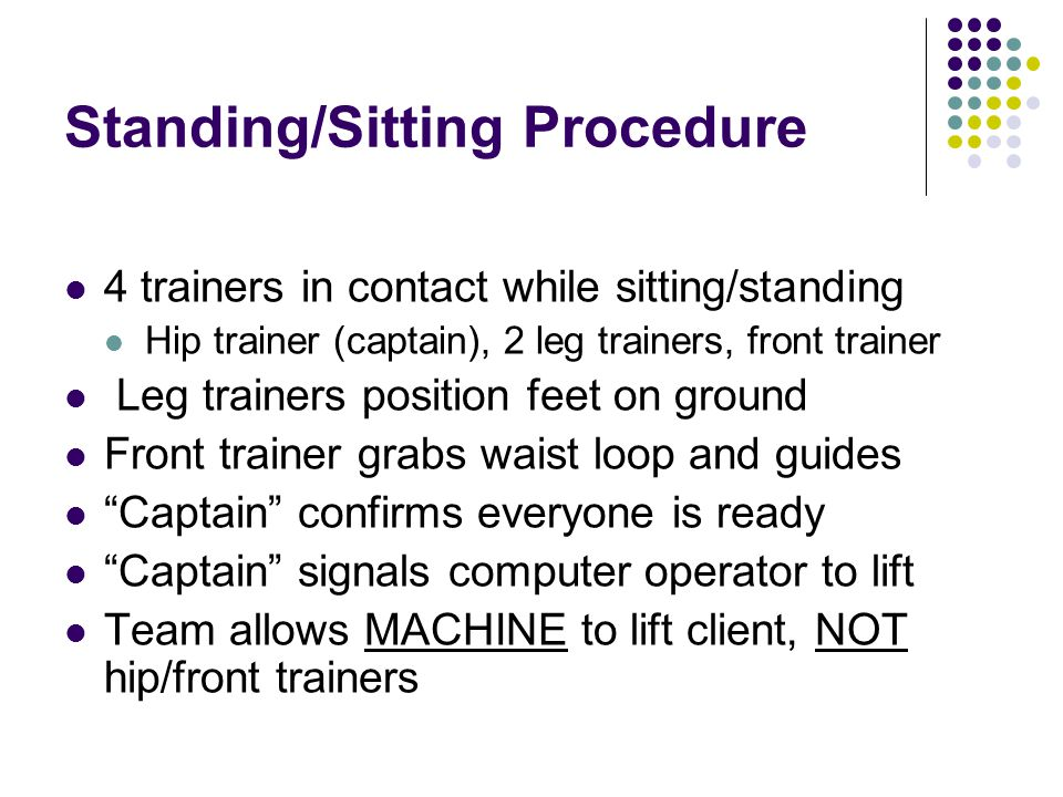 Standing/Sitting Procedure 4 trainers in contact while sitting/standing Hip trainer (captain), 2 leg trainers, front trainer Leg trainers position feet on ground Front trainer grabs waist loop and guides Captain confirms everyone is ready Captain signals computer operator to lift Team allows MACHINE to lift client, NOT hip/front trainers
