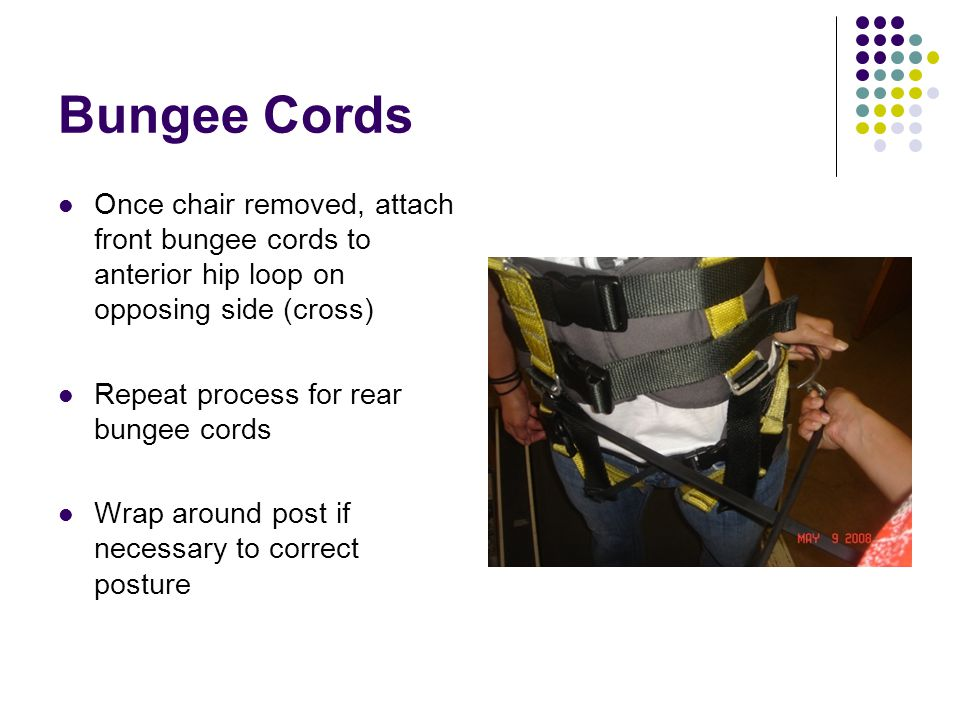 Bungee Cords Once chair removed, attach front bungee cords to anterior hip loop on opposing side (cross) Repeat process for rear bungee cords Wrap aro