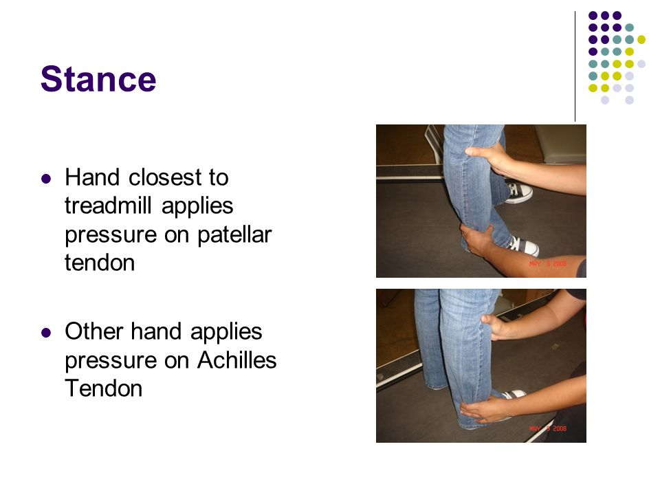 Stance Hand closest to treadmill applies pressure on patellar tendon Other hand applies pressure on Achilles Tendon