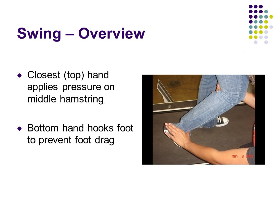 Swing – Overview Closest (top) hand applies pressure on middle hamstring Bottom hand hooks foot to prevent foot drag