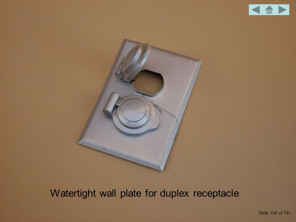 Watertight wall plate for duplex receptacle Slide 156 of 191