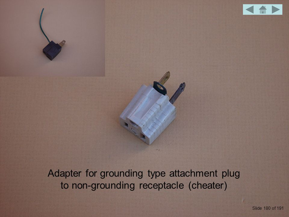 Adapter for grounding type attachment plug to non-grounding receptacle (cheater) Slide 180 of 191