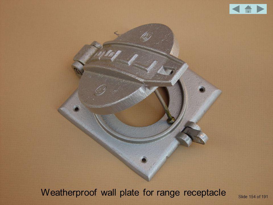 Weatherproof wall plate for range receptacle Slide 154 of 191