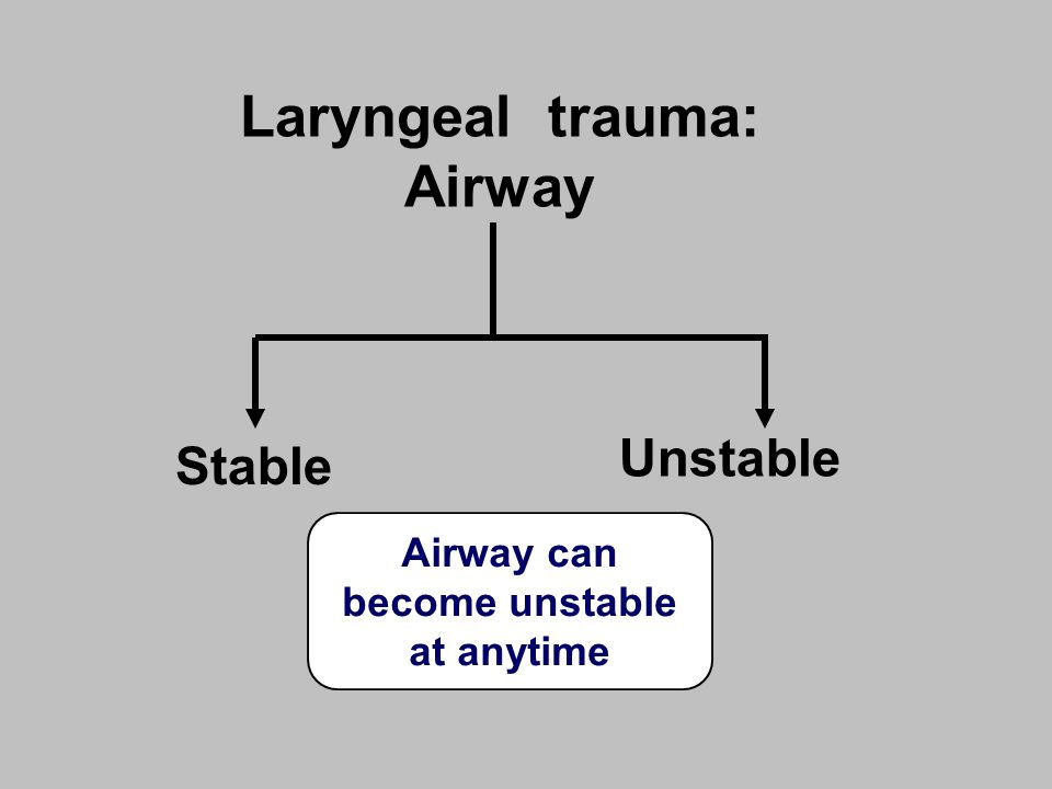 Laryngeal trauma: Airway Stable Unstable Airway can become unstable at anytime