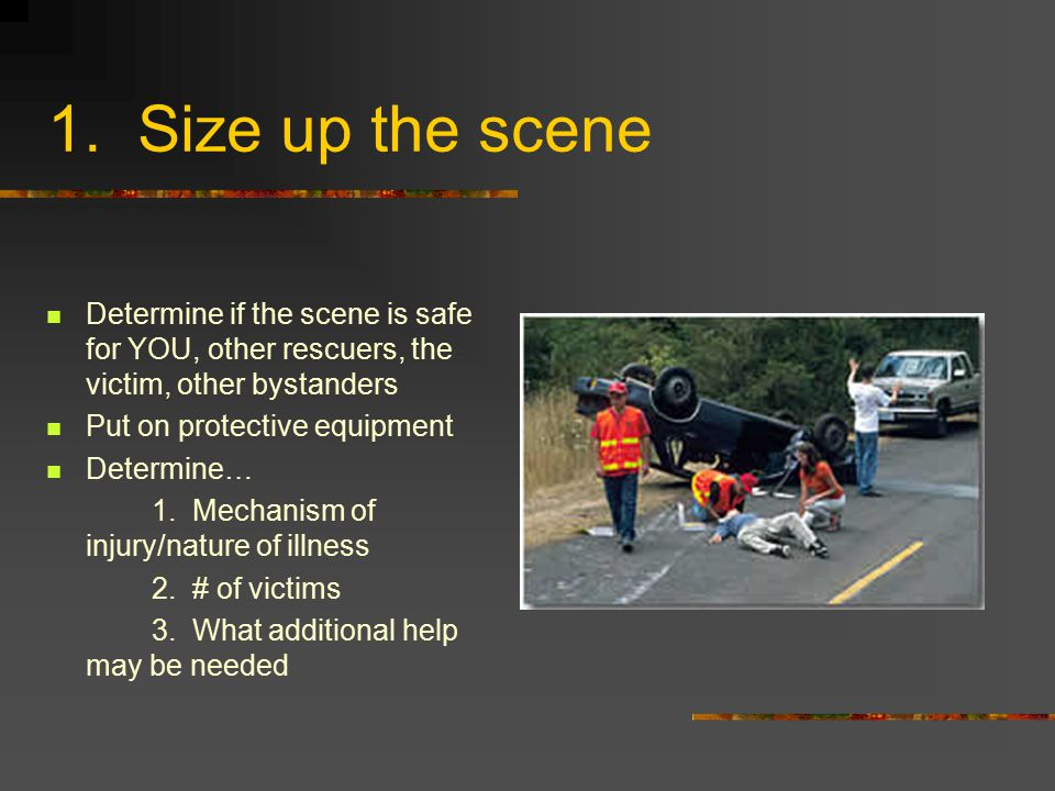 1. Size up the scene Determine if the scene is safe for YOU, other rescuers, the victim, other bystanders Put on protective equipment Determine… 1. Me