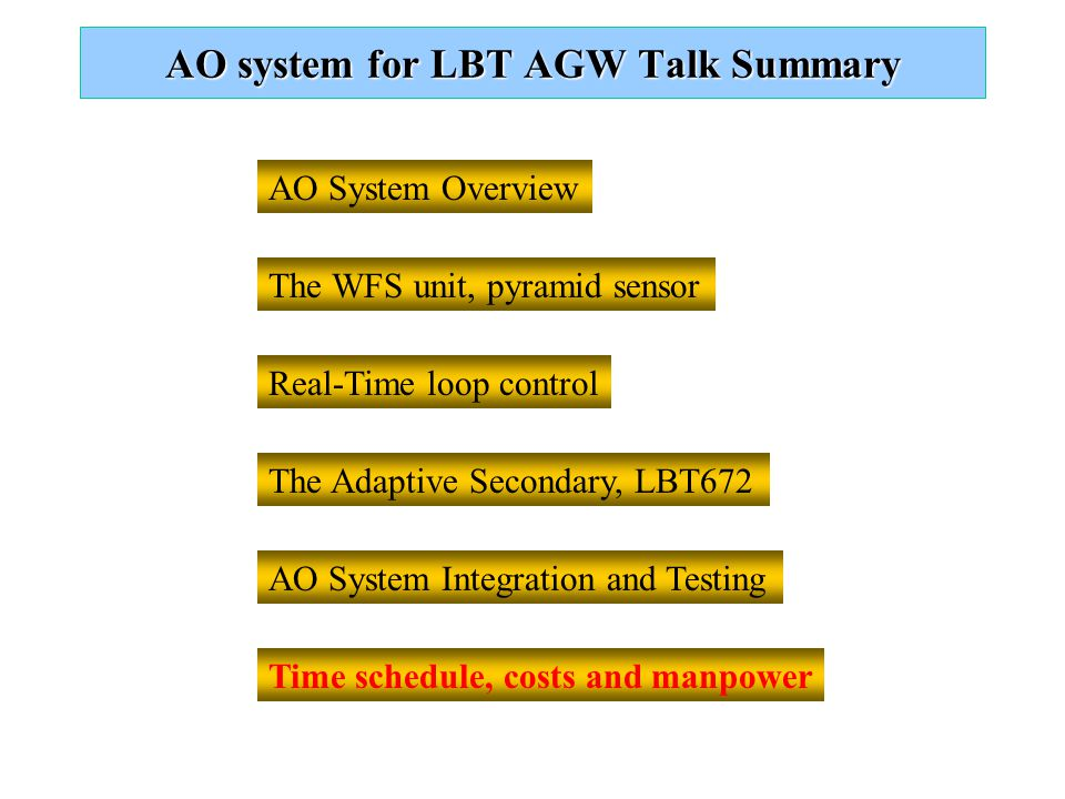 AO system for LBT AGW Talk Summary AO System Integration and Testing AO System Overview Real-Time loop control The WFS unit, pyramid sensor The Adaptive Secondary, LBT672 Time schedule, costs and manpower
