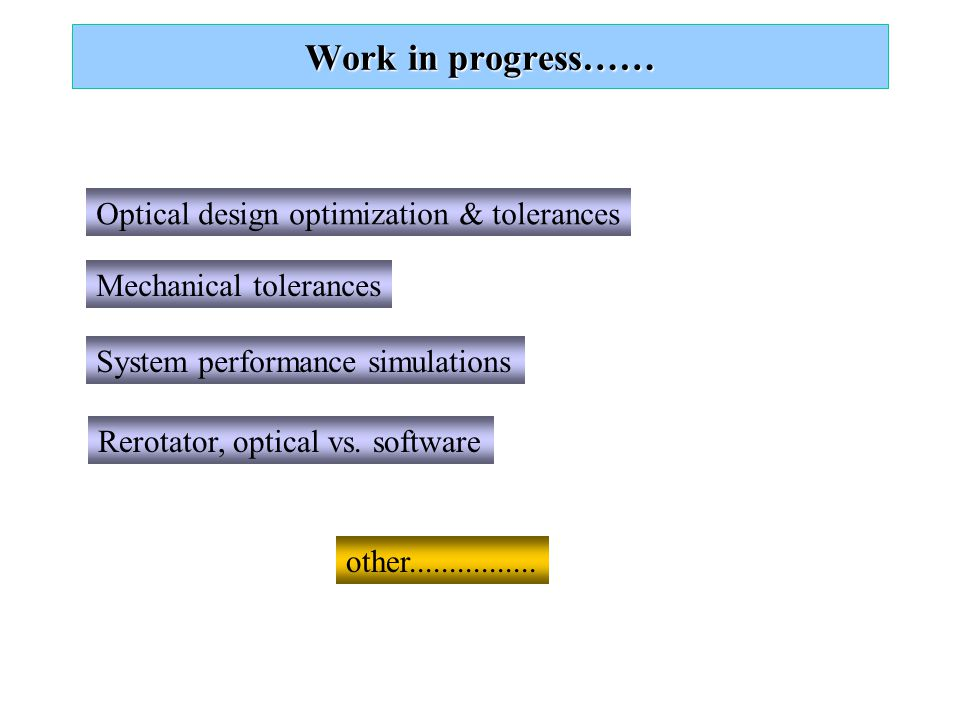 Work in progress…… Optical design optimization & tolerances  echanical tolerances System performance simulations other................