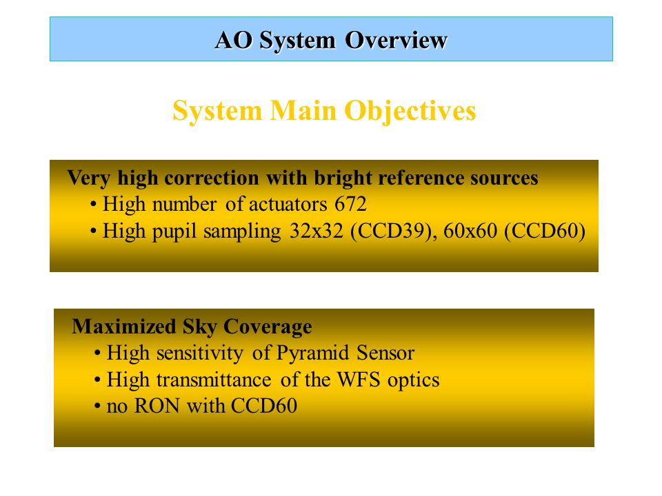 AO System Overview System Main Objectives Very high correction with bright reference sources High number of actuators 672 High pupil sampling 32x32 (CCD39), 60x60 (CCD60) Maximized Sky Coverage High sensitivity of Pyramid Sensor High transmittance of the WFS optics no RON with CCD60
