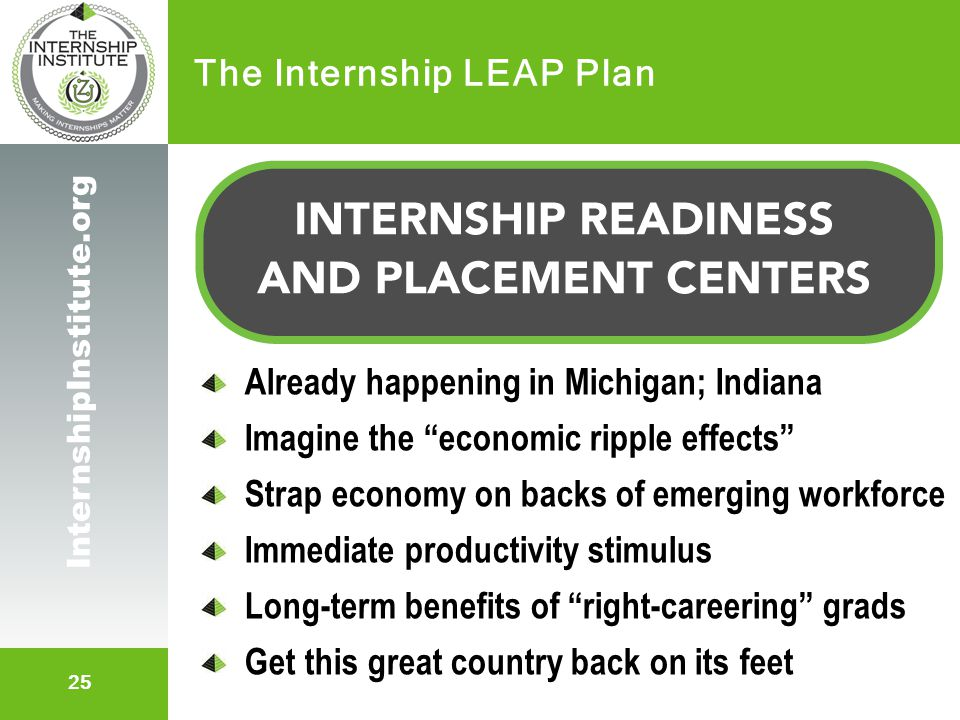 "25 InternshipInstitute.org The Internship LEAP Plan Already happening in Michigan; Indiana Imagine the ""economic ripple effects"" Strap economy on back"
