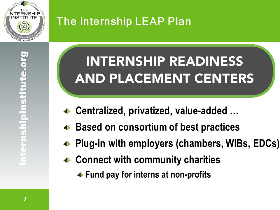 7 InternshipInstitute.org The Internship LEAP Plan Centralized, privatized, value-added … Based on consortium of best practices Plug-in with employers